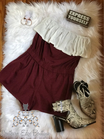 """Game Day Ready"" Maroon Romper"
