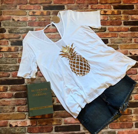 Metallic Gold Pineapple Tee