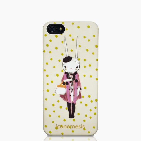 Fifi Lapin Rabbit Bunny Ears Case for iPhone 5/5s & SE, Mauve Coat