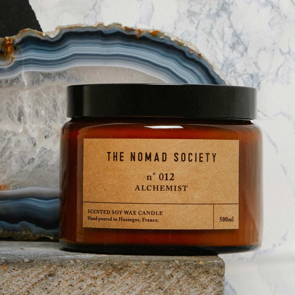 Alchemist hand poured soy wax vegan candle by The Nomad Society with notes of Rosewood
