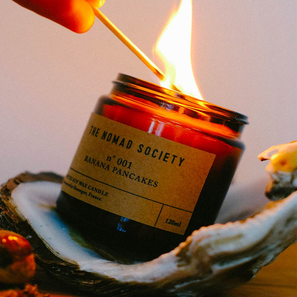 vegan hand poured wax candle Banana Pancakes The Nomad Society