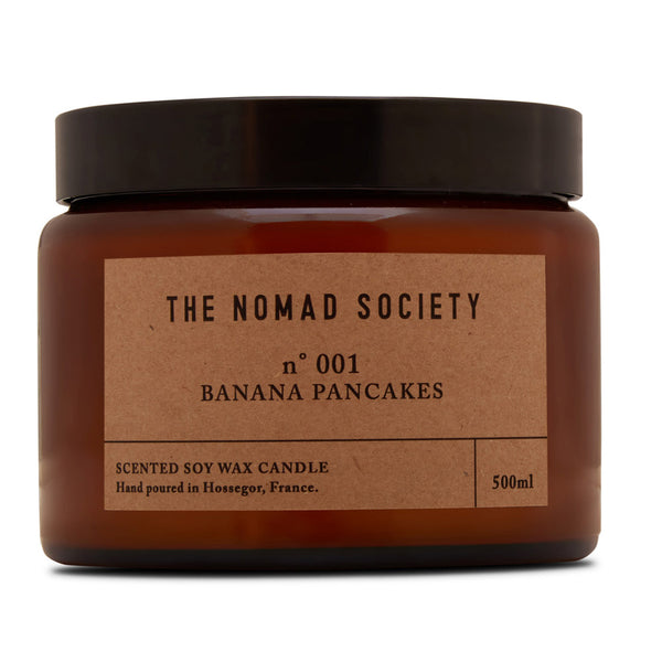 vegan hand poured wax candle Banana Pancakes The Nomad Society 500ml