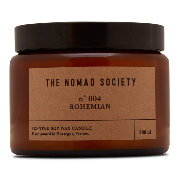 Bohemian soy wax candle hand poured The Nomad Society 500ml