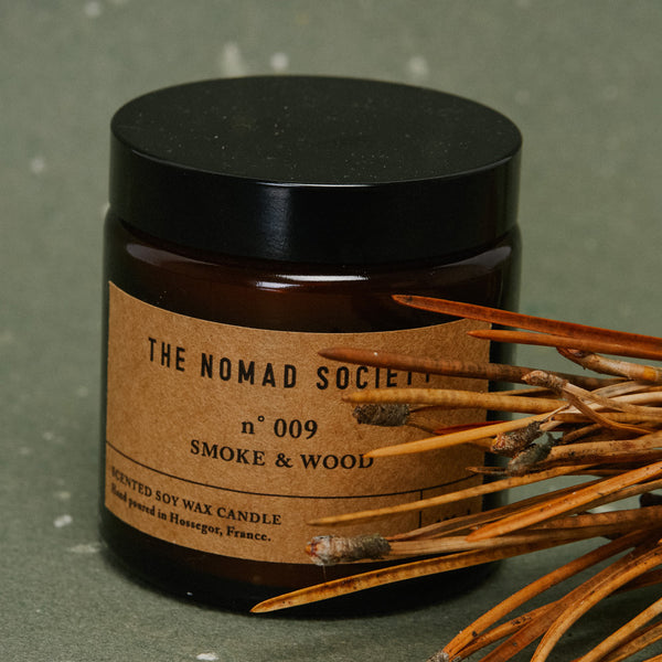 Smoke & Wood campfire scented soy wax candle The Nomad Society 120ml