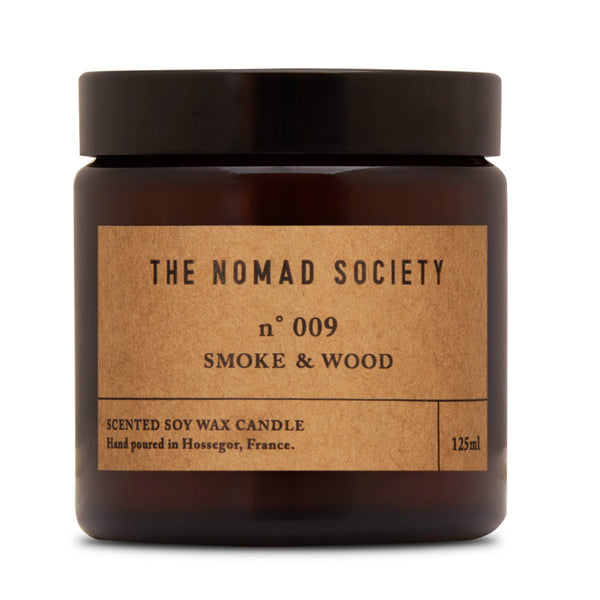 Smoke & Wood campfire scented soy wax candle The Nomad Society