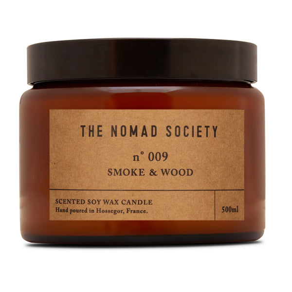 Smoke & Wood campfire scented soy wax candle The Nomad Society double wick 500ml