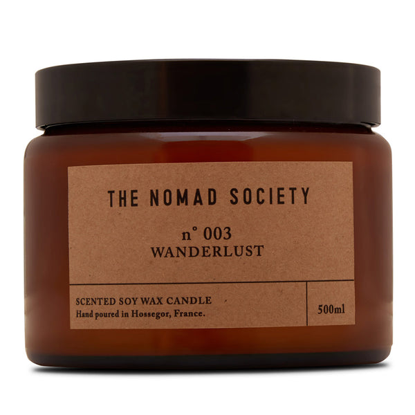 Wanderlust scented soy wax candle The Nomad Society 500ml