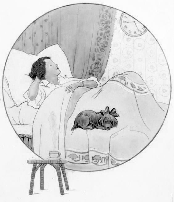 vintage-woman-in-bed-drawing - Flax Linens Blog
