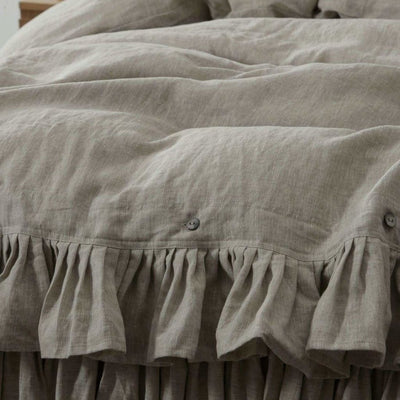 Belgian Linen 5 Piece Ruffled Bed In A Bag Duvet Cover & Sheet Set 12 Colors