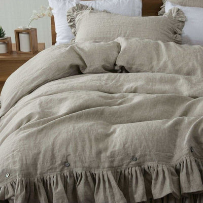 Belgian Linen 5 Piece Ruffled Bed In A Bag Duvet Cover & Sheet Set 12 Colors | flaxlinens.com