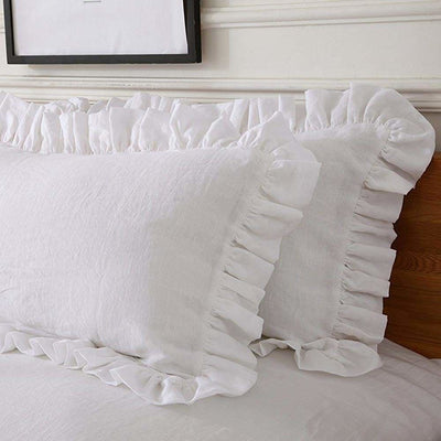 Belgian Linen 5 Piece Ruffled Bed In A Bag Duvet Cover & Sheet Set 12 Colors - Twin / Snowy White | flaxlinens.com