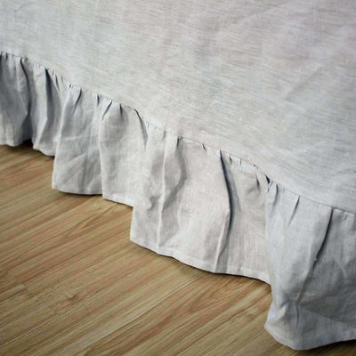 Belgian Linen Bedskirt Short Or Long Ruffled Flouncing In 12 Colors