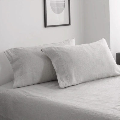 Belgian Linen Embroidered Sheets 4 Piece Set In 5 Colors | flaxlinens.com