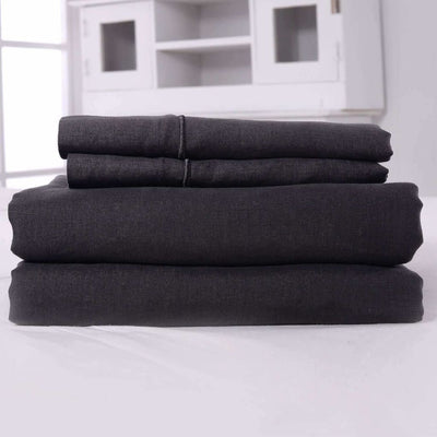 Belgian Linen Embroidered Sheets 4 Piece Set In 5 Colors - Full / Dark Gray