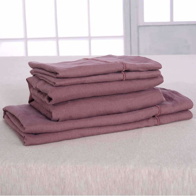 Belgian Linen Embroidered Sheets 4 Piece Set In 5 Colors - Full / Dusty Rose