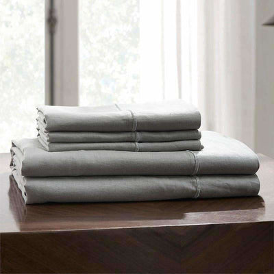 Belgian Linen Embroidered Sheets 4 Piece Set In 5 Colors - Full / Light Gray | flaxlinens.com