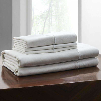 Belgian Linen Embroidered Sheets 4 Piece Set In 5 Colors - Full / White