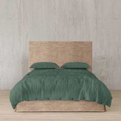 Belgian Linen Simple Duvet Cover 3 Piece Set In 12 Colors - Full / Forest Green