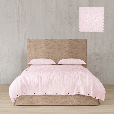 Belgian Linen Simple Duvet Cover 3 Piece Set In 12 Colors - Full / Blush Pink