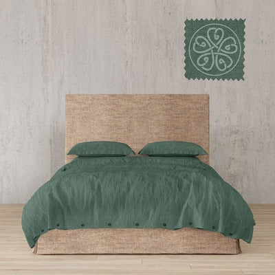 Belgian Linen Simple Duvet Cover 3 Piece Set in 14 Colors - full / Forest Green