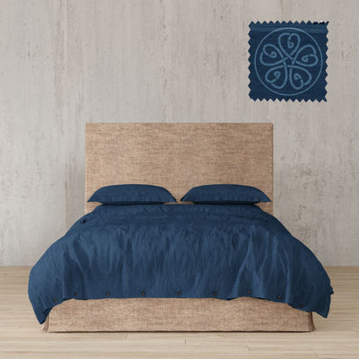 Belgian Linen Simple Duvet Cover 3 Piece Set In 12 Colors - Full / Navy Blue