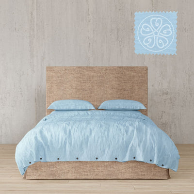 Belgian Linen Simple Duvet Cover 3 Piece Set In 12 Colors - Full / Sky Blue