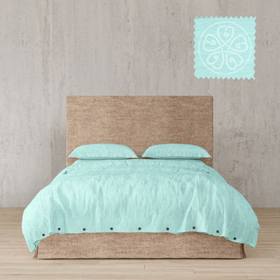 Belgian Linen Simple Duvet Cover 3 Piece Set In 12 Colors - Full / Tiffany Blue