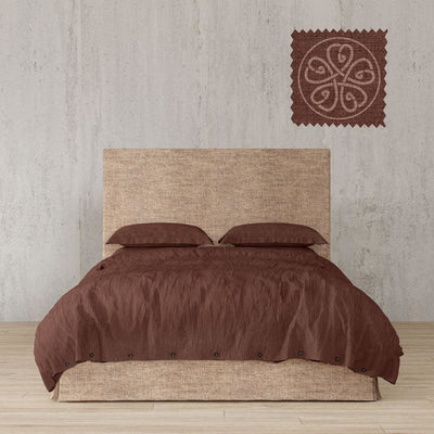 Belgian Linen Simple Duvet Cover 3 Piece Set in 14 Colors - Twin / Chestnut Brown