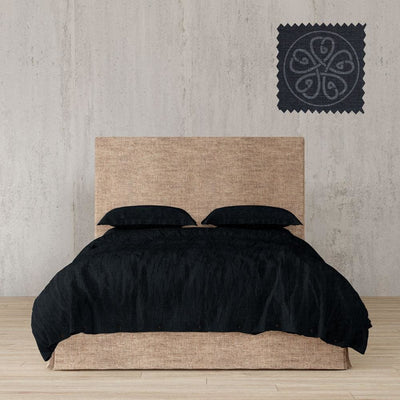 Belgian Linen Simple Duvet Cover 3 Piece Set in 14 Colors - Twin / Midnight Black