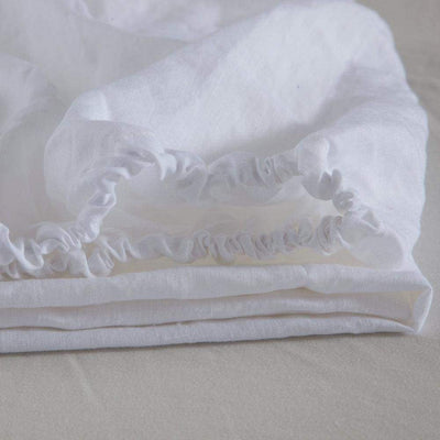 Belgian Linen Simple Fitted Sheet 3 Piece Set In 12 Colors