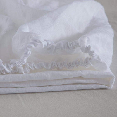 Belgian Linen Simple Fitted Sheet 3 Piece Set In 12 Colors | flaxlinens.com