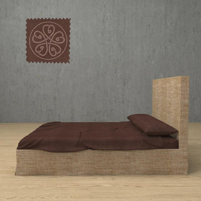 Belgian Linen Simple Sheets 4 Piece Set in 12 Colors All Sizes - Twin / Chestnut Brown