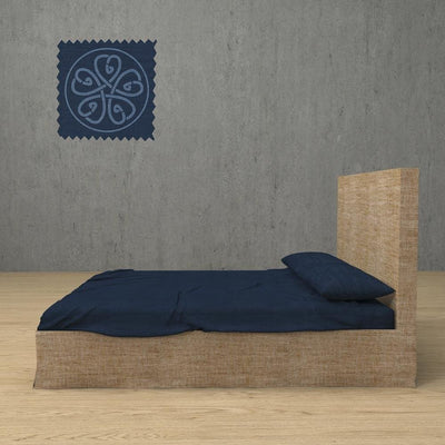 Belgian Linen Simple Sheets 4 Piece Set in 12 Colors All Sizes - Twin / Navy Blue