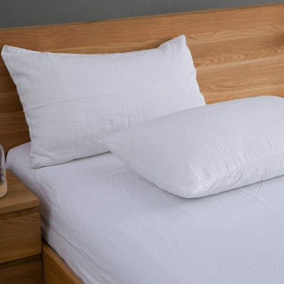 Belgian Linen Simple Sheets 4 Piece Set In 12 Colors All Sizes - Twin / White |  | flaxlinens.com