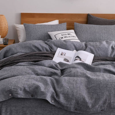 Chambray Linen Bed In A Bag 5 Piece Simple Duvet Cover & Sheets Set 11 Colors