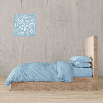 Chambray Linen Bed In A Bag 5 Piece Simple Duvet Cover & Sheets Set 11 Colors - Twin / Fargo Horizon