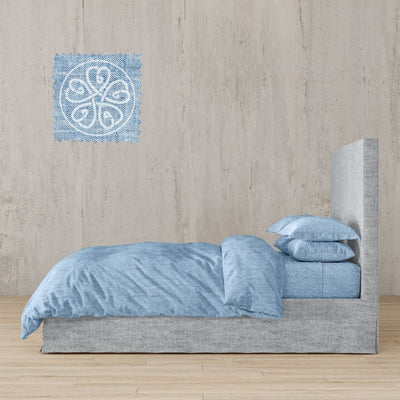 Chambray Linen Bed In A Bag 5 Piece Simple Duvet Cover & Sheets Set 11 Colors - Twin / Pylos Sea