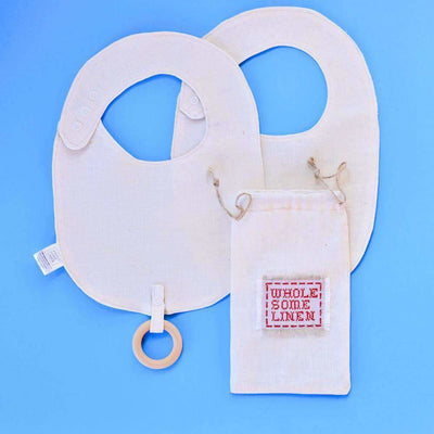 Organic Linen Bibs With Wooden Teething Ring