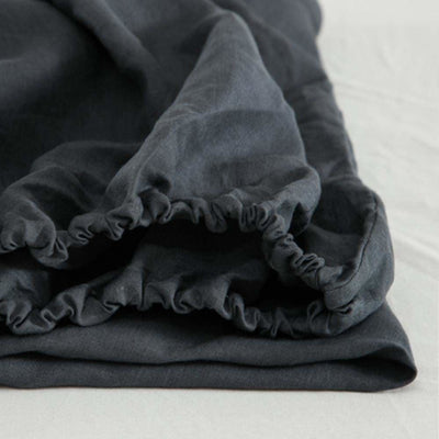 Single Organic Belgian Linen Stonewashed Fitted Sheet In 12 Colors