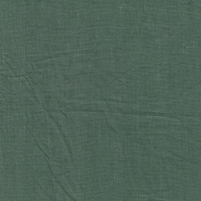 Single Organic Belgian Linen Stonewashed Fitted Sheet In 12 Colors - Forest Green / King
