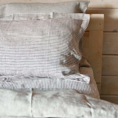 Striped Chambray Linen Bed In A Bag 5 Piece Simple Duvet Cover & Sheet Set 15 Patterns
