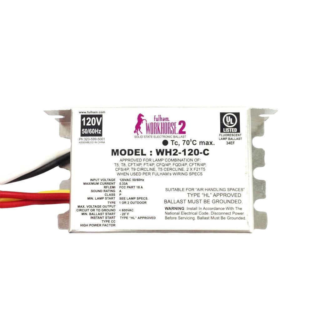 Fulham Instant Start Electronic Fluorescent WorkHorse Ballast for (1-2) 35W Max Lamps Operated at 120V (WH2-120-C)