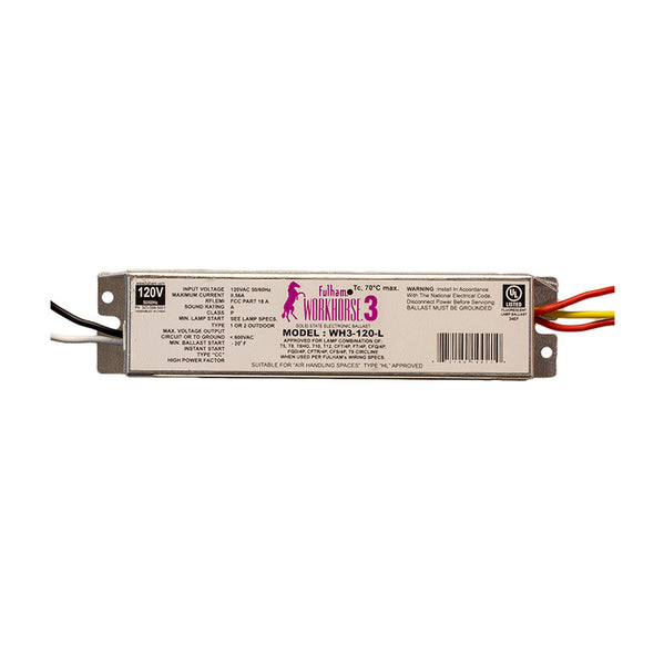 Fulham WorkHorse Instant Start Electronic Fluorescent Ballast for (1-3) 64W Max Lamps Operated at 120V (WH3-120-L)