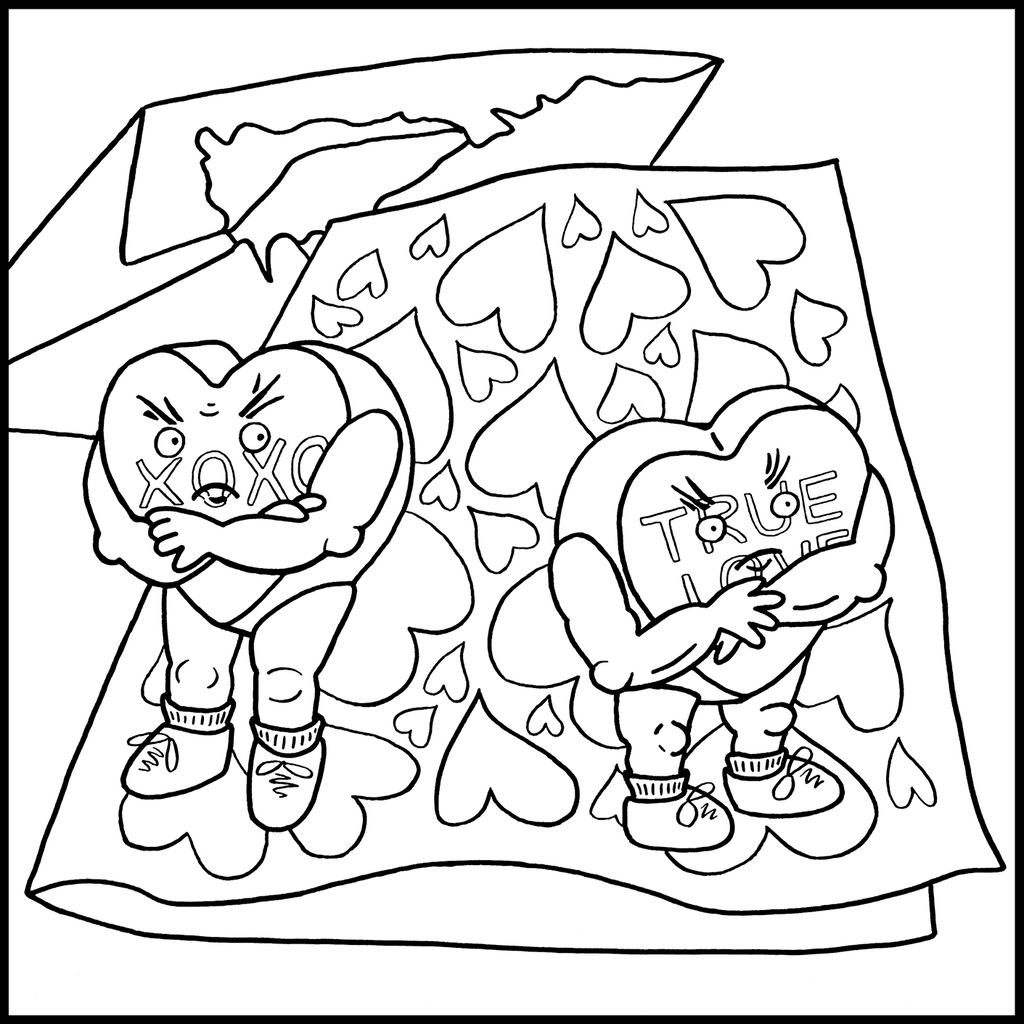 Sweethearts' Quarrel- A Free Coloring Page by Sandra Gibbons
