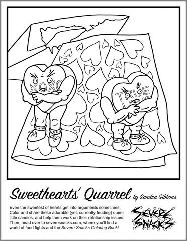 Sweethearts' Quarrel- A Free Coloring Page - Severe Snacks