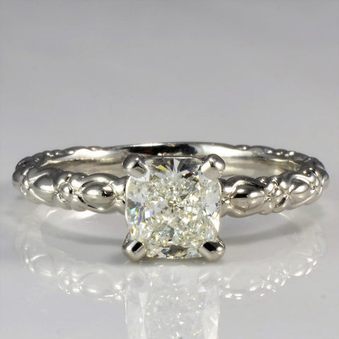 Elegant Cushion Cut Platinum Solitaire Engagement Ring SZ 8.25