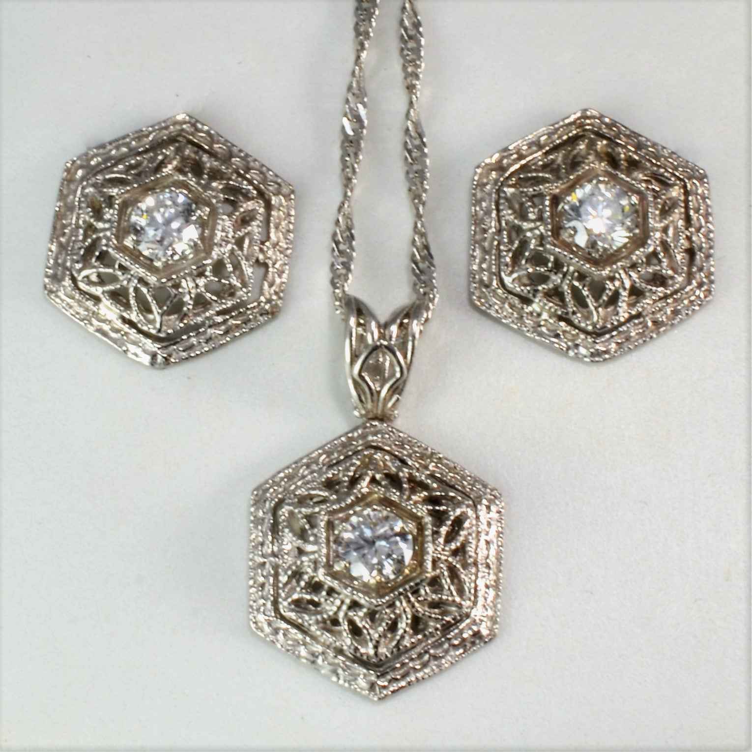 Intricate Filigree Earrings & Necklace Set | 0.28 ctw, 16"