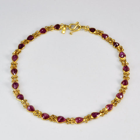 Pear Cut Ruby Bracelet | 7"