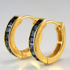 Square Cut Sapphire Hinge Hoop Earrings
