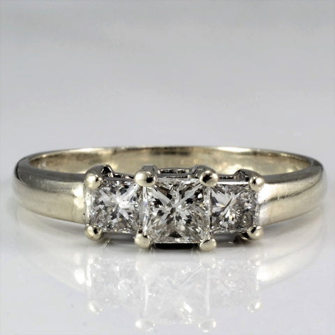 Certified Three Stone Princess Engagement Ring SZ 7